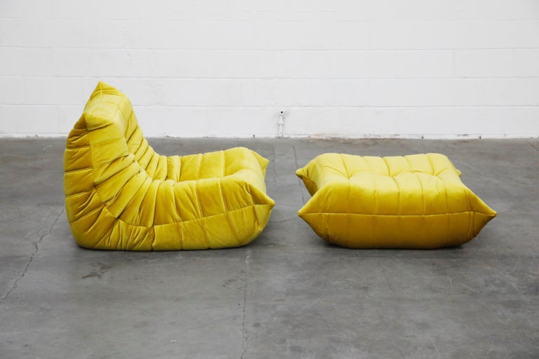 Foam 'Togo' Lounge Chair and Ottoman by Michel Ducaroy for Ligne Roset in Gold Velvet For Sale