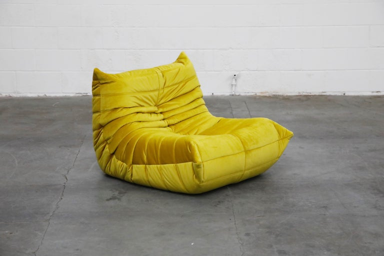 'Togo' Lounge Chair and Ottoman by Michel Ducaroy for Ligne Roset in Gold Velvet For Sale 2