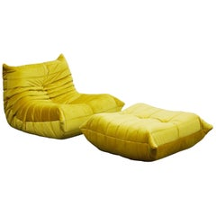 'Togo' Lounge Chair and Ottoman by Michel Ducaroy for Ligne Roset in Gold Velvet