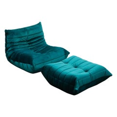 Togo Lounge Chair and Ottoman by Michel Ducaroy for Ligne Roset in Green Velvet