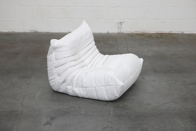 Togo Lounge Chair and Ottoman by Michel Ducaroy for Ligne Roset in White Leather For Sale 6