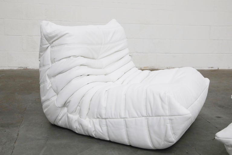Togo Lounge Chair and Ottoman by Michel Ducaroy for Ligne Roset in White Leather For Sale 9