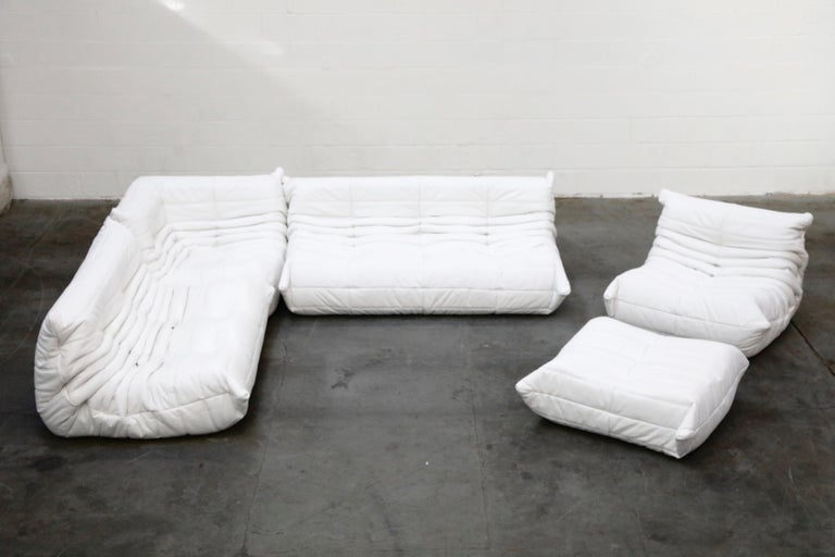 Togo Lounge Chair and Ottoman by Michel Ducaroy for Ligne Roset in White Leather For Sale 13