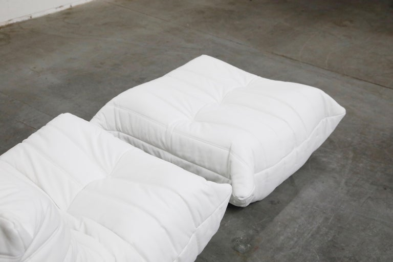 Togo Lounge Chair and Ottoman by Michel Ducaroy for Ligne Roset in White Leather For Sale 3