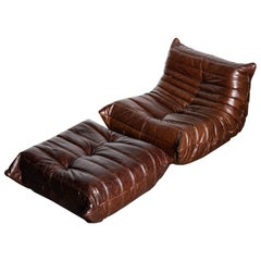 'Togo' Lounge Chair and Ottoman by Michel Ducaroy for Ligne Roset, Signed