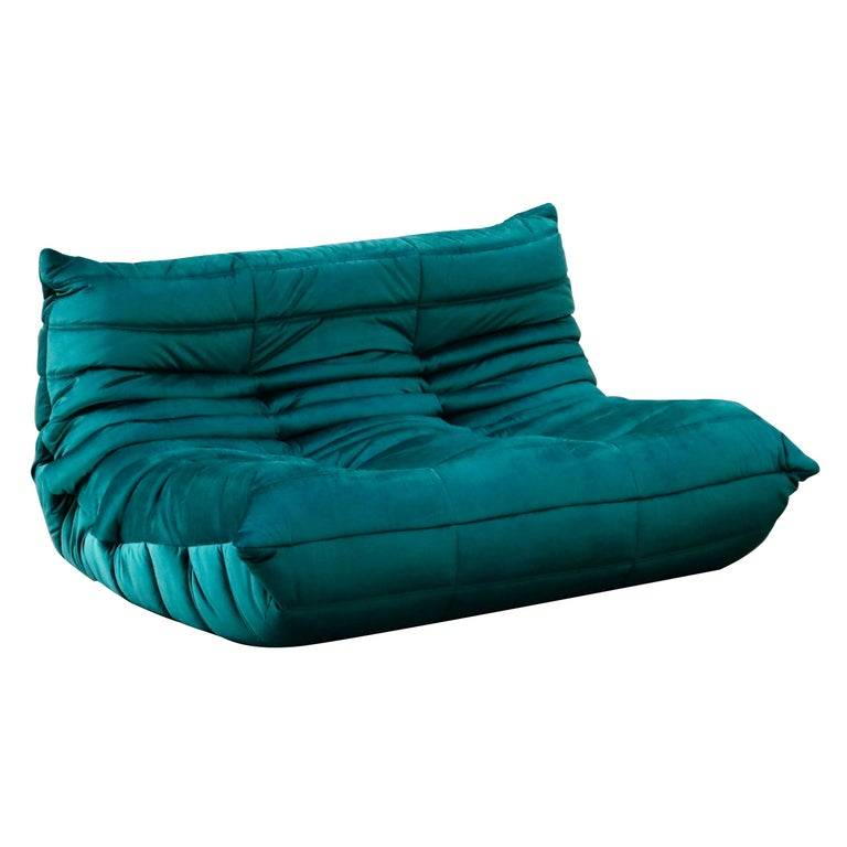 Togo Loveseat by Michel Ducaroy for Ligne Roset in Emerald Green Velvet, Signed For Sale