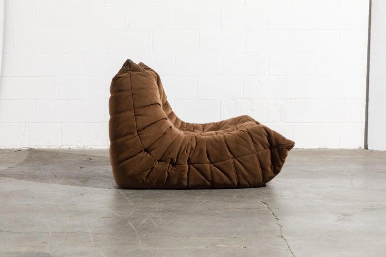 Ultrasuede 'Togo' Loveseat Sofa by Michel Ducaroy for Ligne Roset, Signed