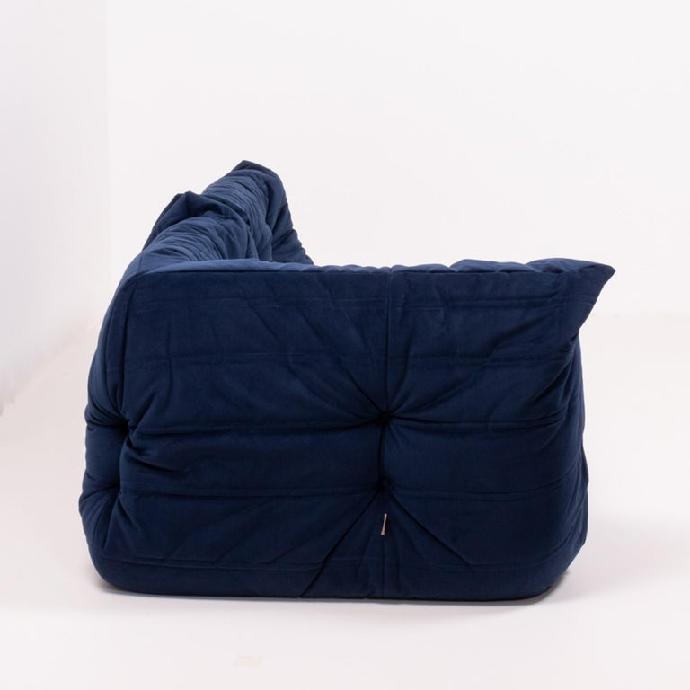 French Togo Navy Fabric Modular Sofa by Michel Ducaroy for Ligne Roset, Two-Piece Set For Sale