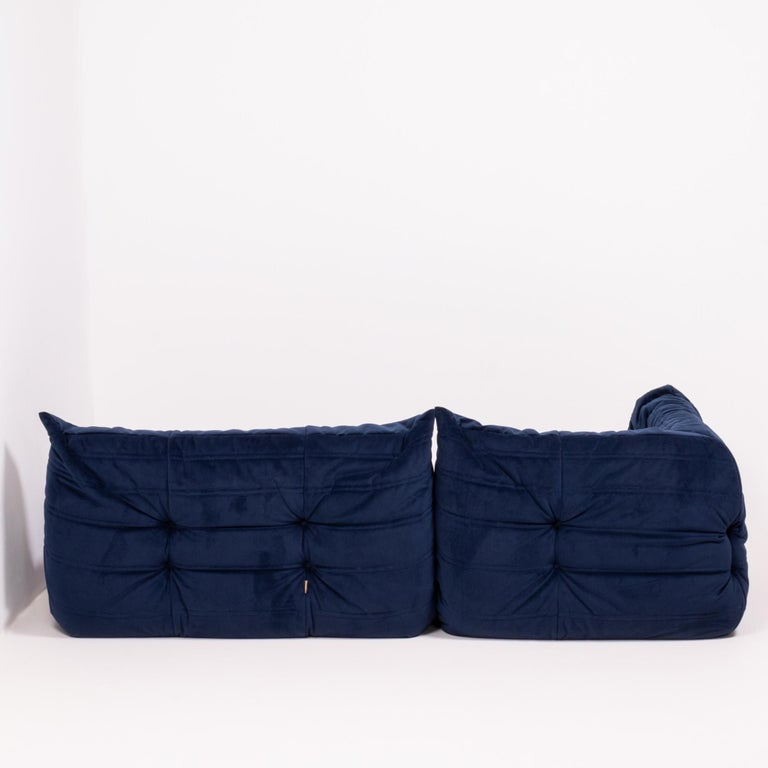 Togo Navy Fabric Modular Sofa by Michel Ducaroy for Ligne Roset, Two-Piece Set In Excellent Condition For Sale In London, GB