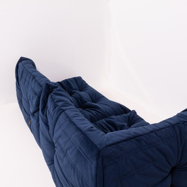 Late 20th Century Togo Navy Fabric Modular Sofa by Michel Ducaroy for Ligne Roset, Two-Piece Set For Sale