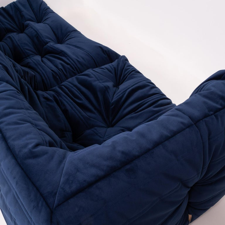 Velvet Togo Navy Fabric Modular Sofa by Michel Ducaroy for Ligne Roset, Two-Piece Set For Sale