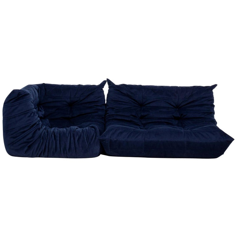 Togo Navy Fabric Modular Sofa by Michel Ducaroy for Ligne Roset, Two-Piece Set For Sale