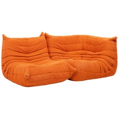 Togo Orange Fabric Modular Sofa by Michel Ducaroy for Ligne Roset, Two-Piece Set