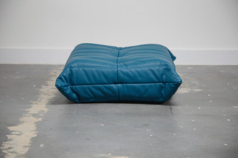 Modern 'Togo' Ottoman by Michel Ducaroy for Ligne Roset in Blue Leather For Sale