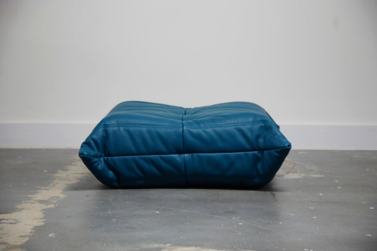 French 'Togo' Ottoman by Michel Ducaroy for Ligne Roset in Blue Leather For Sale