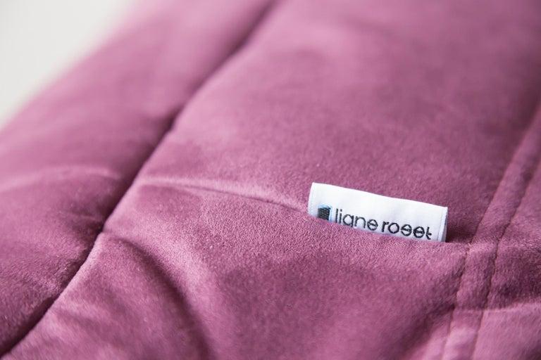 Fabric Togo Ottoman in Aubergine/Purple Microfibre by Michel Ducaroy, Ligne Roset For Sale