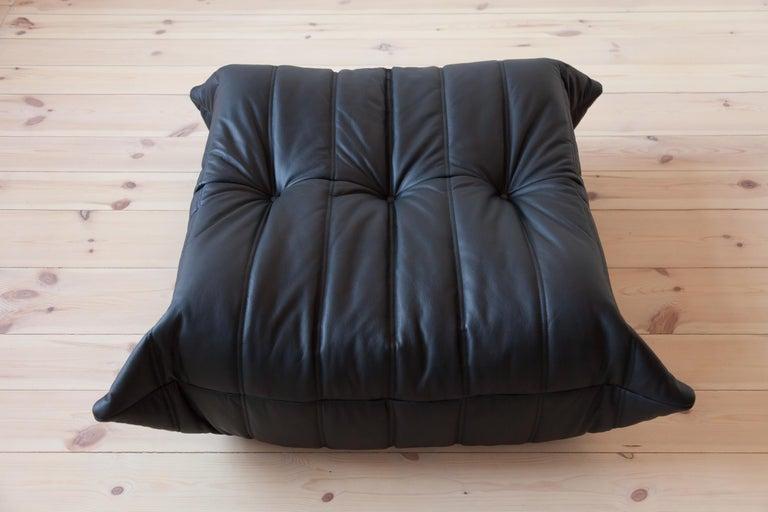 Mid-Century Modern Togo Ottoman in Black Leather by Michel Ducaroy, Ligne Roset For Sale