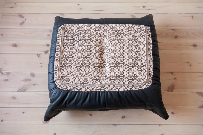 French Togo Ottoman in Black Leather by Michel Ducaroy, Ligne Roset For Sale