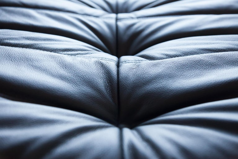 Togo Ottoman in Black Leather by Michel Ducaroy, Ligne Roset For Sale 1