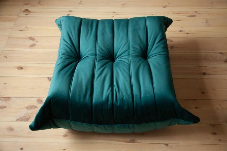 French Togo Ottoman in Blue-Green Velvet by Michel Ducaroy, Ligne Roset For Sale