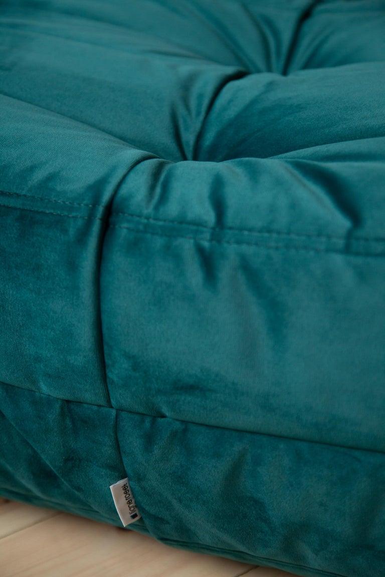 Togo Ottoman in Blue-Green Velvet by Michel Ducaroy, Ligne Roset For Sale 1