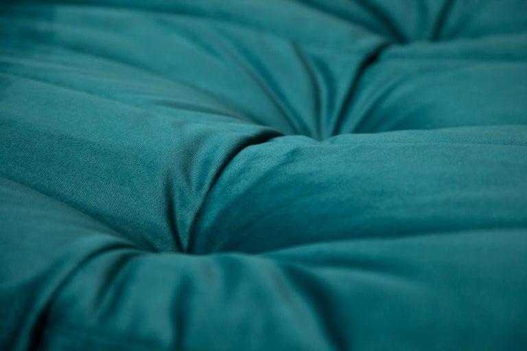 Togo Ottoman in Blue-Green Velvet by Michel Ducaroy, Ligne Roset For Sale 2