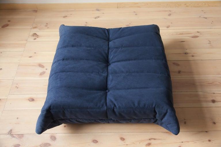 Fabric Togo Ottoman in Dark Blue Microfibre by Michel Ducaroy, Ligne Roset For Sale