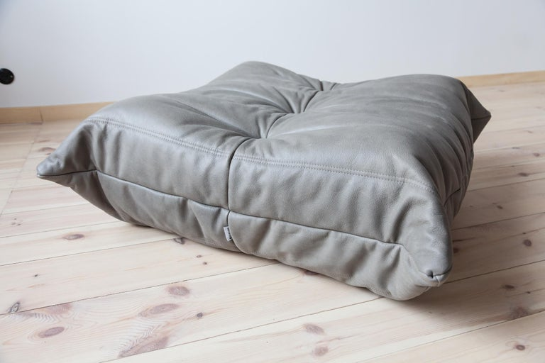Late 20th Century Togo Ottoman in Grey Leather by Michel Ducaroy, Ligne Roset For Sale