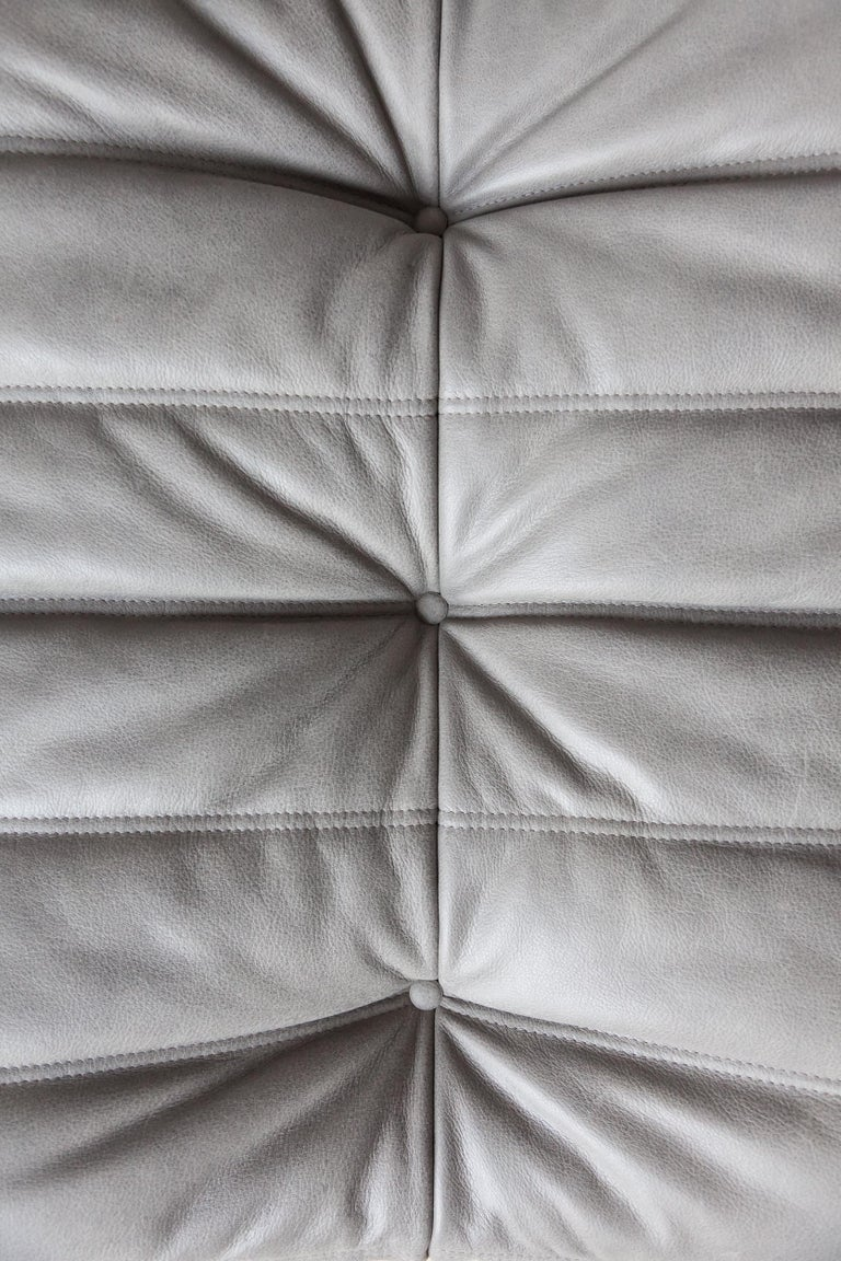 Togo Ottoman in Grey Leather by Michel Ducaroy, Ligne Roset For Sale 1