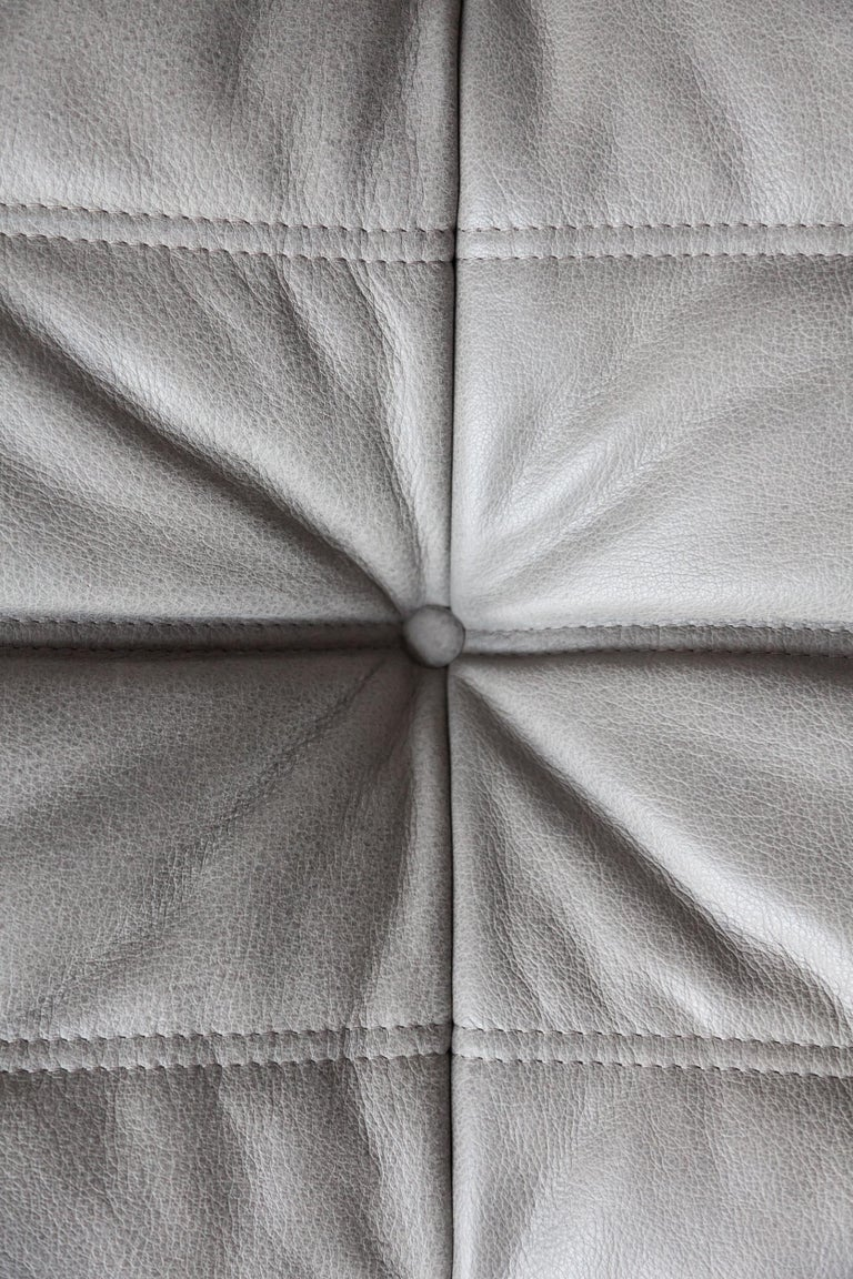 Togo Ottoman in Grey Leather by Michel Ducaroy, Ligne Roset For Sale 2