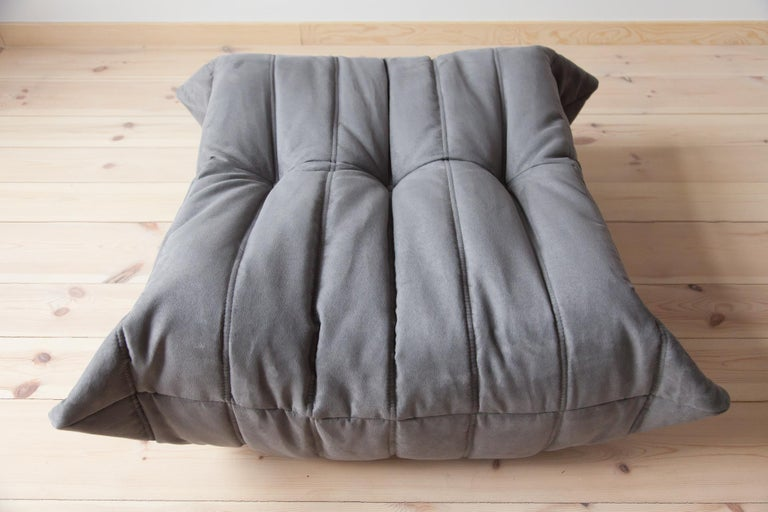 French Togo Ottoman in Grey Microfibre by Michel Ducaroy, Ligne Roset For Sale