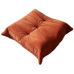 Togo Ottoman in Orange Velvet by Michel Ducaroy, Ligne Roset
