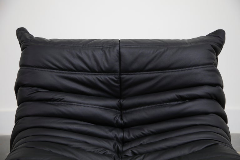 Togo Sectional Five-Piece Set by Michel Ducaroy for Ligne Roset in Black Leather For Sale 7