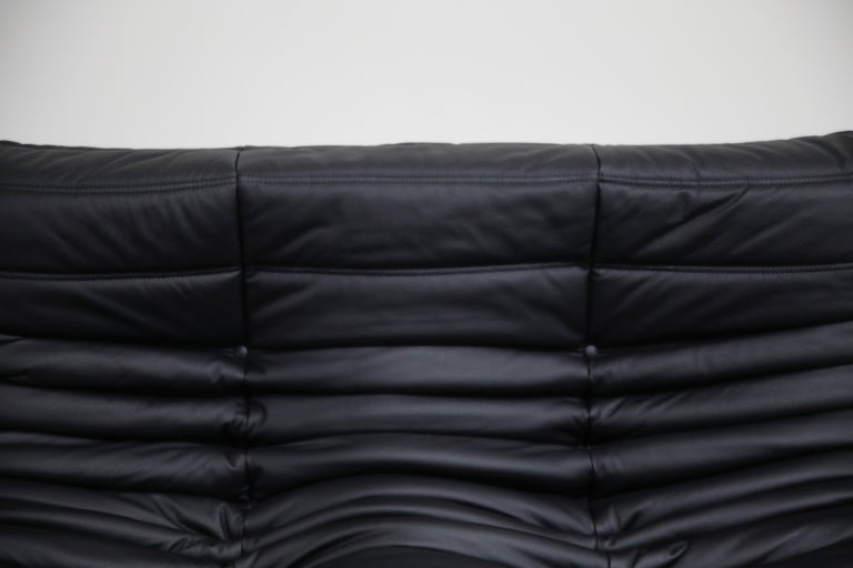 Togo Sectional Five-Piece Set by Michel Ducaroy for Ligne Roset in Black Leather For Sale 8