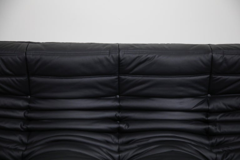 Togo Sectional Five-Piece Set by Michel Ducaroy for Ligne Roset in Black Leather For Sale 9