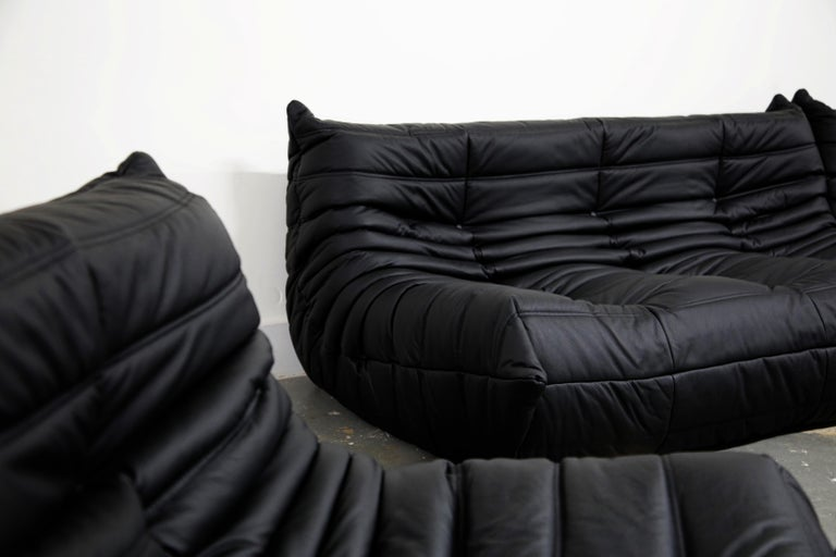 Togo Sectional Five-Piece Set by Michel Ducaroy for Ligne Roset in Black Leather For Sale 13