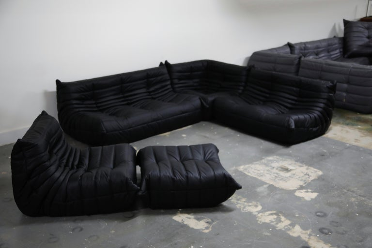 Modern Togo Sectional Five-Piece Set by Michel Ducaroy for Ligne Roset in Black Leather For Sale