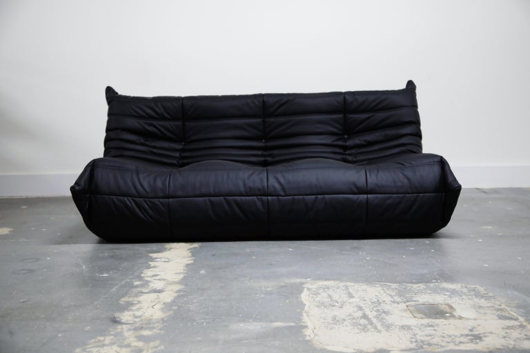 Contemporary Togo Sectional Five-Piece Set by Michel Ducaroy for Ligne Roset in Black Leather For Sale