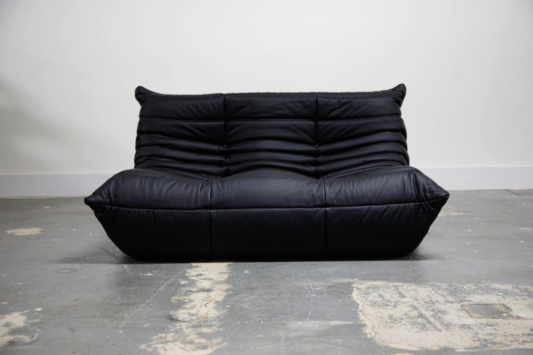 Togo Sectional Five-Piece Set by Michel Ducaroy for Ligne Roset in Black Leather For Sale 2