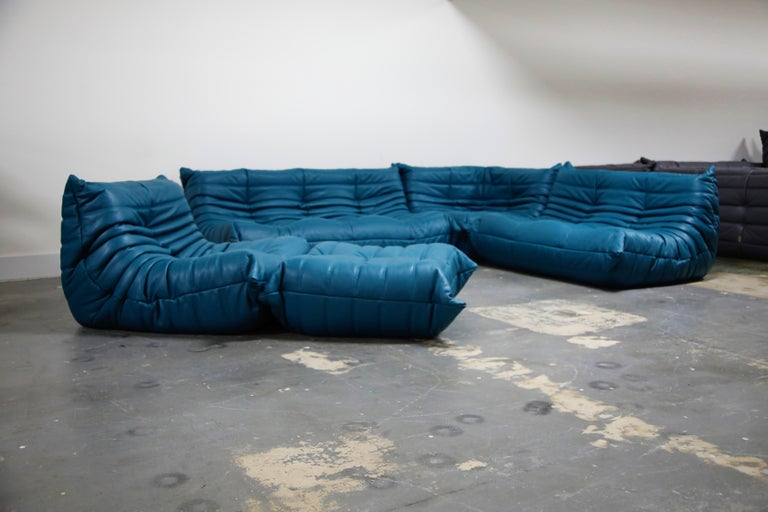 French Togo Sectional Five-Piece Set by Michel Ducaroy for Ligne Roset in Blue Leather For Sale