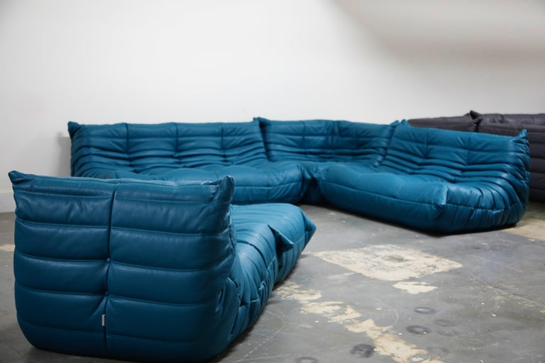 2010s Togo Sectional Five-Piece Set by Michel Ducaroy for Ligne Roset in Blue Leather For Sale