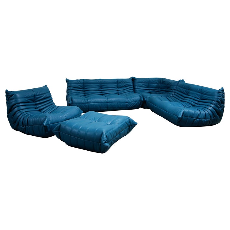 Togo Sectional Five-Piece Set by Michel Ducaroy for Ligne Roset in Blue Leather For Sale