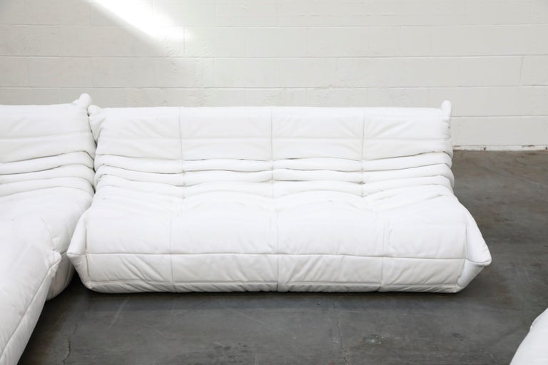 Togo Sectional Five-Piece Set by Michel Ducaroy for Ligne Roset in White Leather For Sale 4