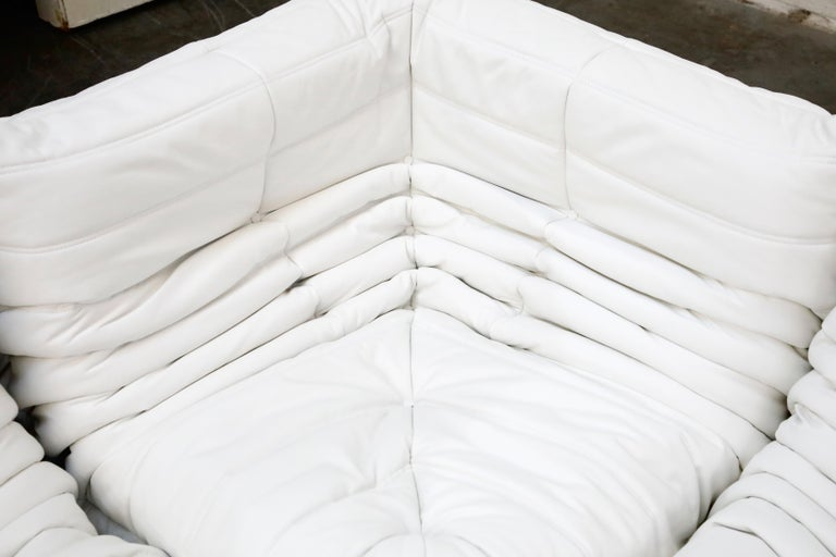 Togo Sectional Five-Piece Set by Michel Ducaroy for Ligne Roset in White Leather For Sale 6