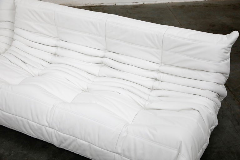 Togo Sectional Five-Piece Set by Michel Ducaroy for Ligne Roset in White Leather For Sale 7
