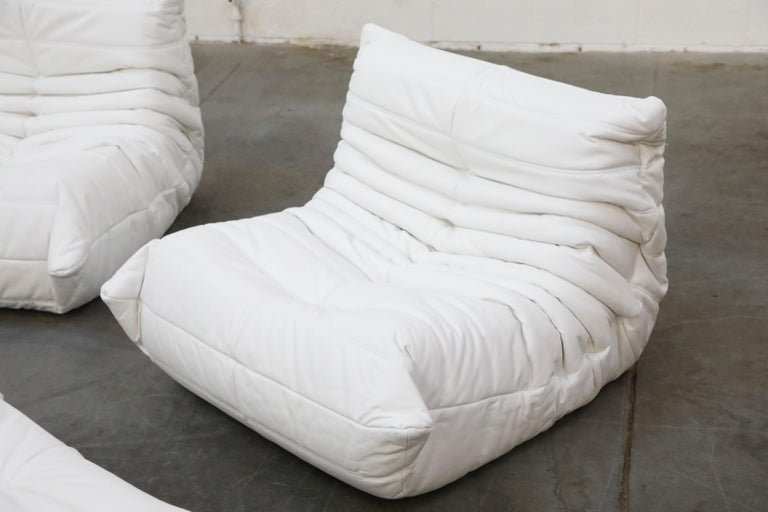Togo Sectional Five-Piece Set by Michel Ducaroy for Ligne Roset in White Leather For Sale 10