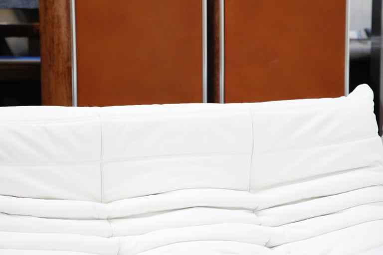 Togo Sectional Five-Piece Set by Michel Ducaroy for Ligne Roset in White Leather For Sale 11