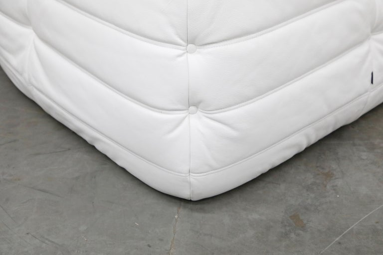 Togo Sectional Five-Piece Set by Michel Ducaroy for Ligne Roset in White Leather For Sale 14