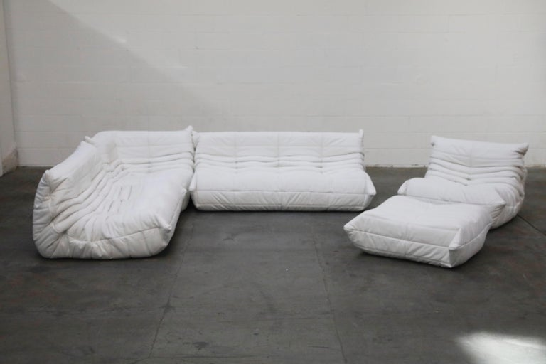 Modern Togo Sectional Five-Piece Set by Michel Ducaroy for Ligne Roset in White Leather For Sale