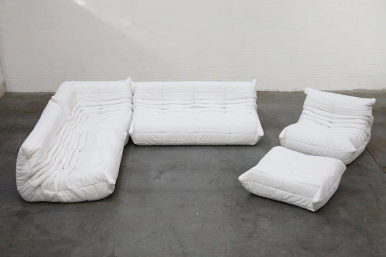 French Togo Sectional Five-Piece Set by Michel Ducaroy for Ligne Roset in White Leather For Sale